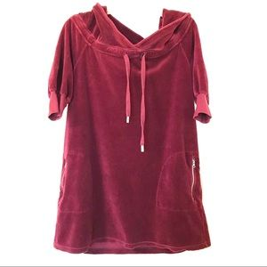 Juicy Couture Hooded Tunic Dress Short Sleeves